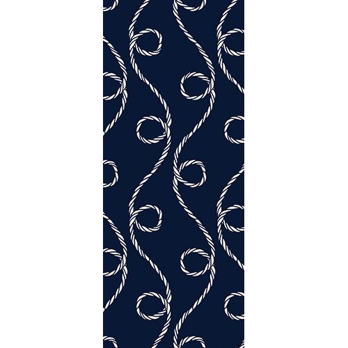Sticker autocollant pour portes décoration bleue avec des motifs cordes blanches