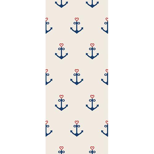 Sticker déco adhésif motif ancres et coeurs bleus marines pour portes