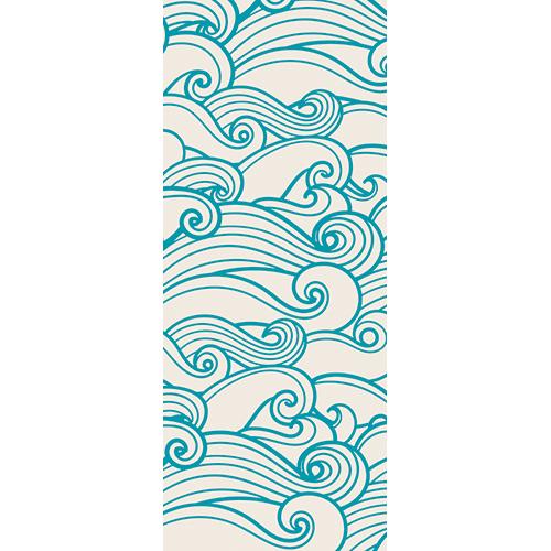 Sticker autocollant décoratif pour portes modèle vague bleue stylisée