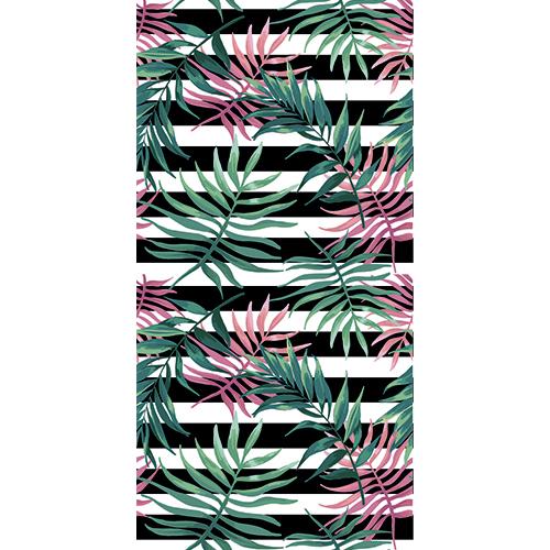 Sticker autocollant décoratif pour portes motif jungle blanc et noir