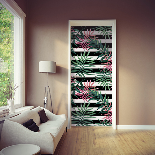 Sticker autocollant décoratif modèle fougères roses et vertes sur fond bi-colores