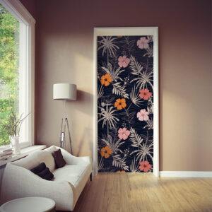 salle de séjour avec sticker collé plantes tropicales sur la porte pour créer une ambiance des années 60 avec ce orange typique