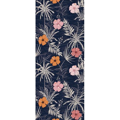 Sticker décoratif pour portes jungle tropicale Asie avec couleurs pastel orange rose et rose pâle