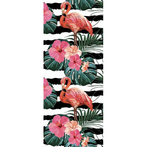 Sticker déco pour portes style peinture flamants roses et jungle