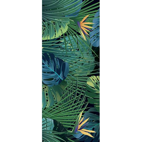 Sticker autocollant décoratif pour portes modèle jungle et oiseau paradisiaque