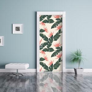 studio avec sticker de porte fleurs roses collé sur la porte comme un papier peint fond bleu égayer une pièce
