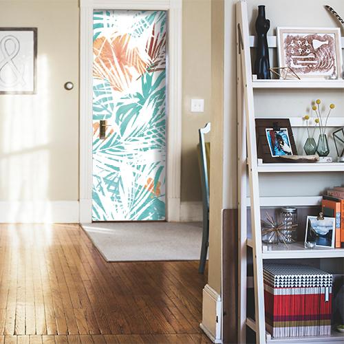 studio moderne avec porte personnalisée par une sticker de porte jungle diapo.