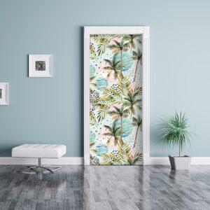 Salon bleu personnalisé par un décor de porte adhésif représentant un motif d'île paradisiaque exotique.