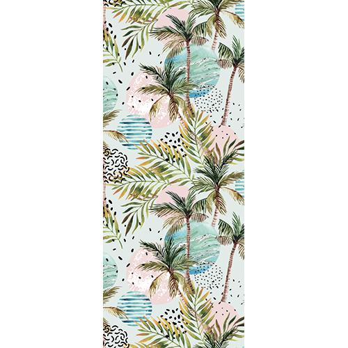 Sticker de porte comme un papier peint adhésif représentant des palmiers comme sur une île tropicale.