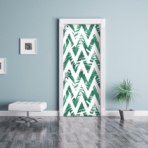 Séjour personnalisé ou salle d'attente avec un décor adhésif autocollant de porte au motif chevrons Urban Jungle vert et blanc.
