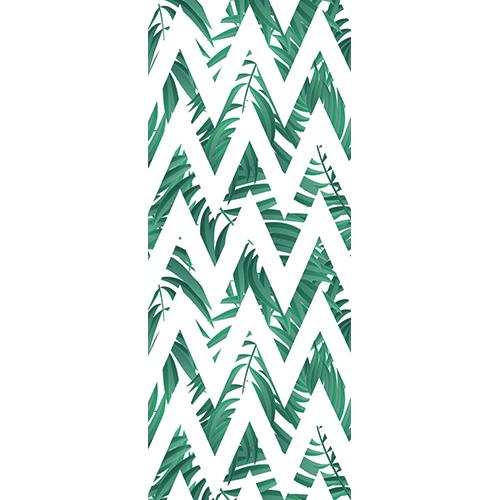Adhésif décoratif pour portes et placards avec chevrons Jungle en vert et blanc.