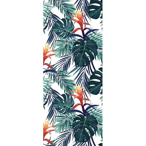 Sticker autocollant pour portes intérieure fleurs tropicales exotiques