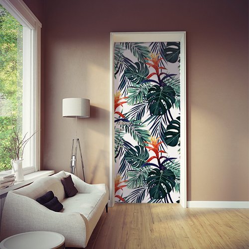 Porte de cuisine personnalisée avec un motif de feuille de monstera et fleurs exotiques.