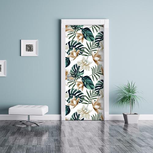 Déco de porte comme un papier peint avec un adhésif déco jungle modèle lotus dans une jolies salle d'attente.