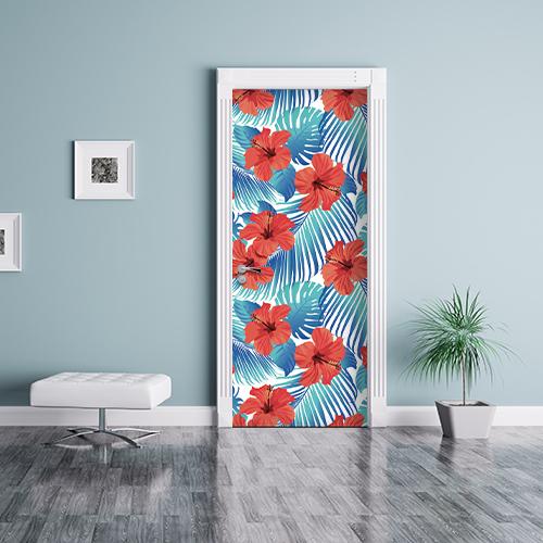 déco jungle dans cette salle d'attente déco grâce aux adhésif de porte et placards motif fleur d'hibiscus.