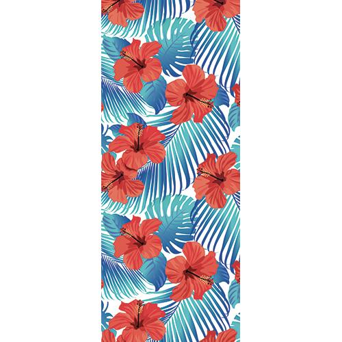 Autocollant déco pour portes et placards modèle Jungle hibiscus bleus et rouges déco d'intérieure