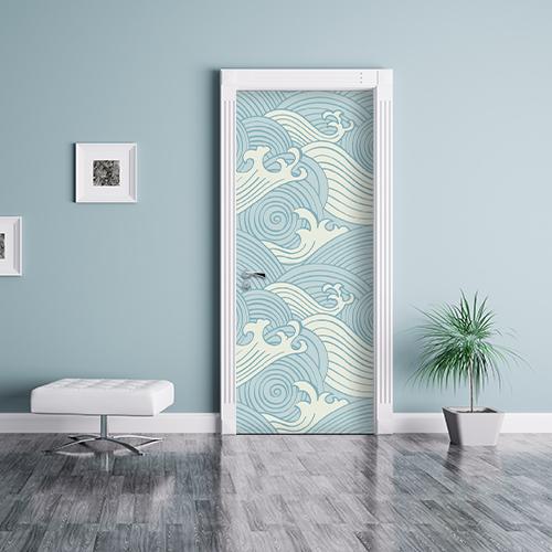 porte d'entrée personnalisée avec un adhésif déco représentant des vagues bleu et blanche japonaise et dessinée en pleine tempête !