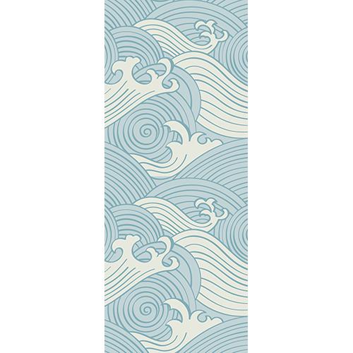 Sticker porte déco mode motif japonais de vagues bleues