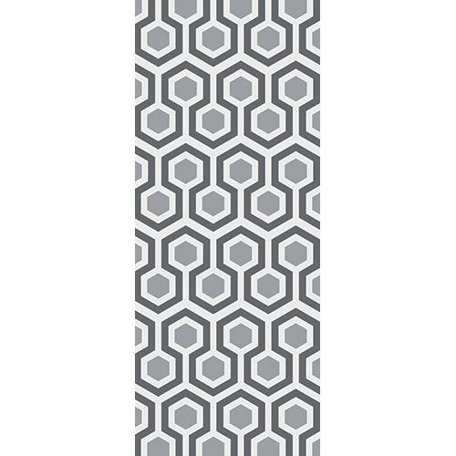 Papier peint adhésif de style sticker de porte et placards motig nid d'abeille avec hexagones gris clair et gris foncé.