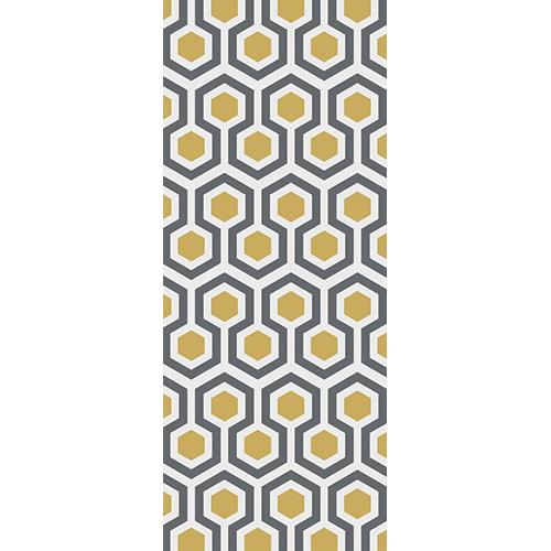 Sticker pour portes intérieure modèle ruche moderne jaune