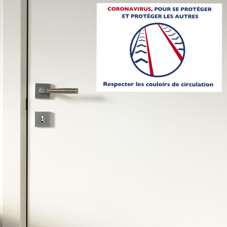 respecter les couloirs de circulation sur une feuille adhésive