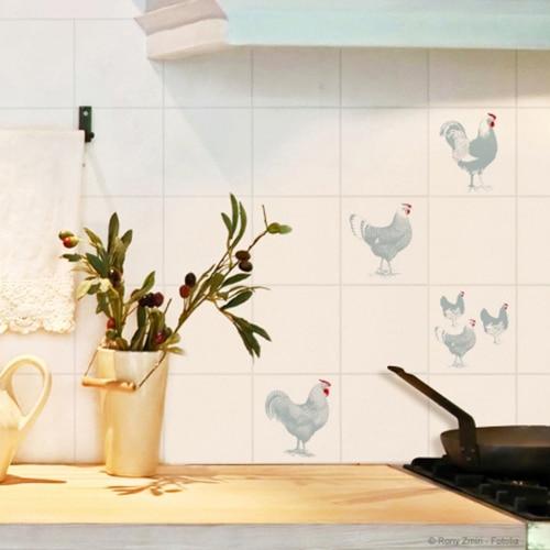 Stickers adhésif pour carrelage Poules et Coqs dans une cuisine