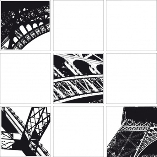Sticker Carrelage Tour Eiffel blanc et noir pour cuisine ou salle de bain