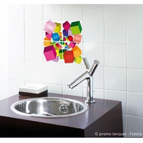 Stickers adhésifs pour carrelage Cubes 3D en couleurs