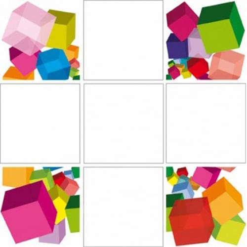Stickers adhésifs de plusieurs couleurs cubes 3D