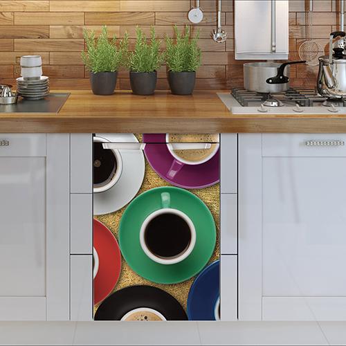 Lave vaisselle orné d'un sticker autocollant tasse de café pour petit frigo adapté