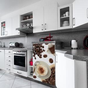 Petit frigo moderne orné d'un sticker autocollant modèle Café