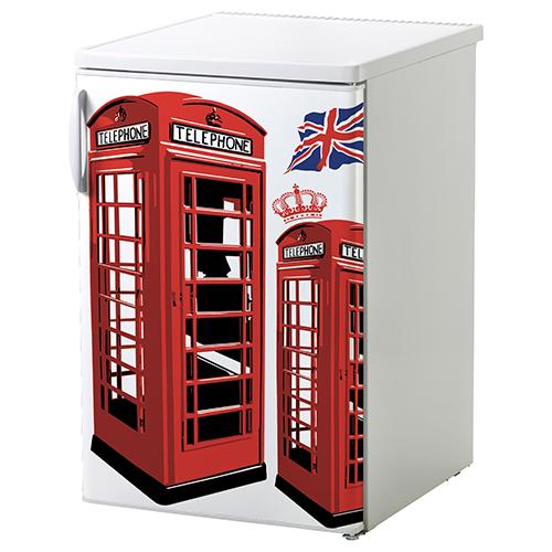 Petit frigo classique orné d'un sticker autocollant Cabine Londres