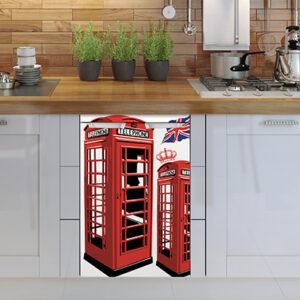 Lave vaisselle avec un sticker autocollant pour petit frigo adapté