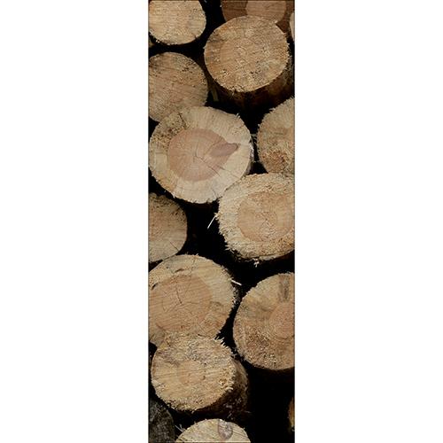 Sticker autocollant décoratif pour cuisines grand frigo buches en bois