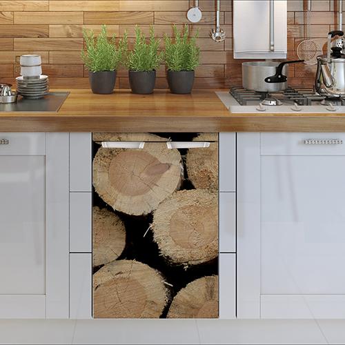 Sticker décoratif buches de bois pour petit frigo adapté à un lave vaisselle