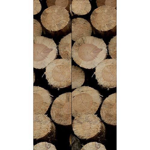 Sticker décoratif pour frigo américain imitation buches en bois