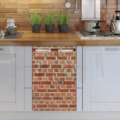Sticker autocollant pour petit frigo mur de briques rouges adapté à un lave vaisselle