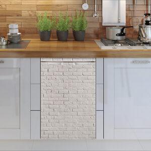 Sticker pour petit frigo imitation brique blanche adapté à un lave vaisselle