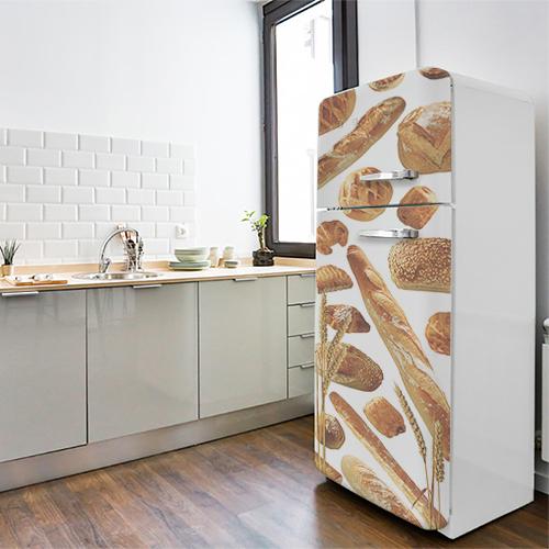 Sticker pour frigo blan style vintage avec produits de boulangerie