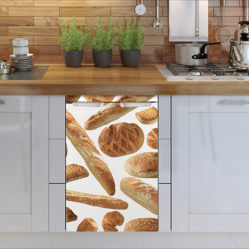 Sticker boulangerie pour petit frigo adapté à un lave vaisselle