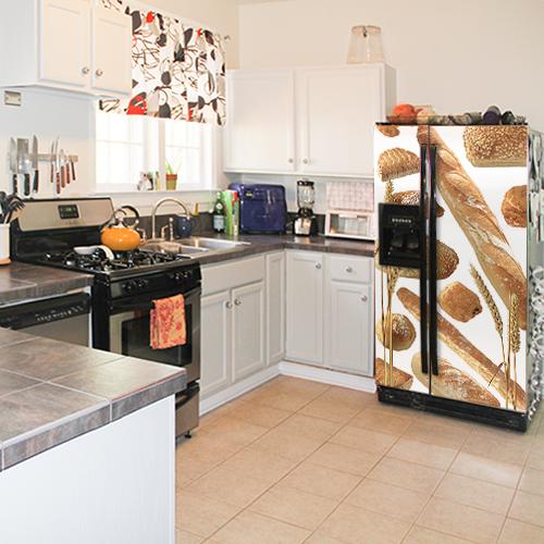 Sticker décoratif adhésif modèle Boulangerie créé pour les frigo américains