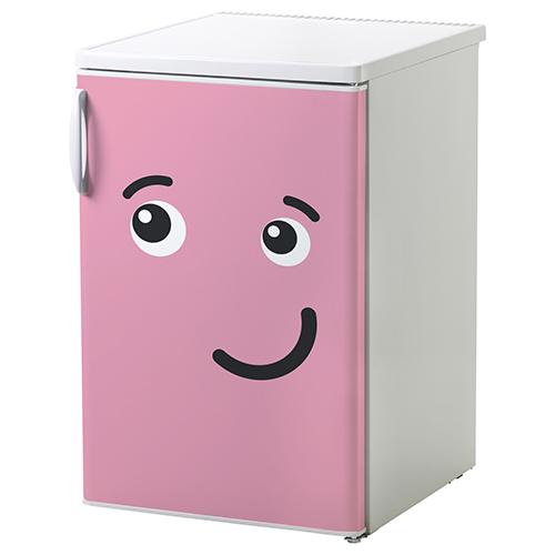 Sticker smiley Rose bisou collé sur un petit frigo