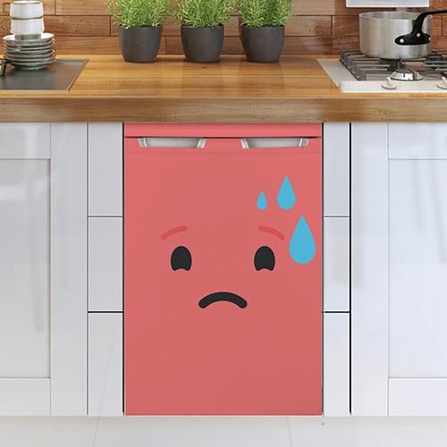 Stickers autocollants pour petit frigo smiley inquiet rose rouge !