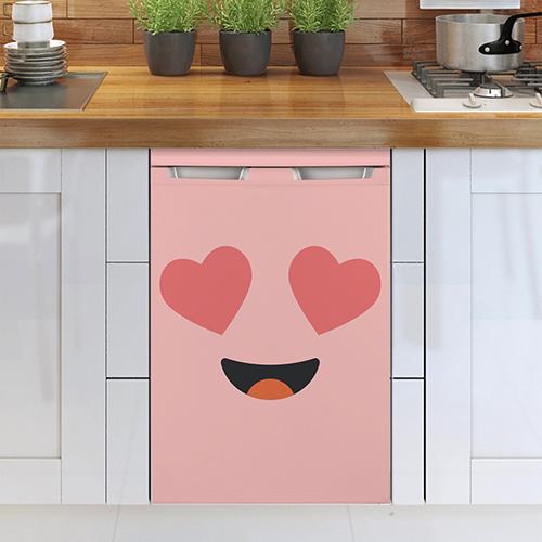 Lave vaisselle blanc avec un sticker autocollant Smiley Amoureux Rose collé dessus