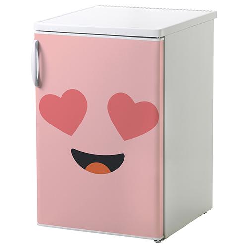 Petit frigo classique sublimé avec un autocollant Smiley Amoureux Rose collé dessus