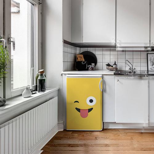 Sticker décoratif adhésif pour cuisine électroménager Smiley souriant jaune