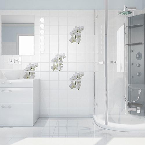 Sticker autocollants Orchidées dans une salle de bain