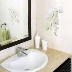 Sticker autocollants Orchidées au-dessus d'un lavabo