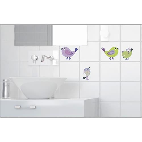 stickers muraux autocollants oiseaux dans une salle de bain