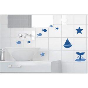 sticker Bateaux et Poissons Bleus dans une salle de bain